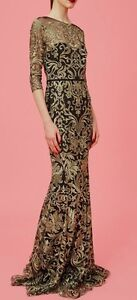 6efdb0da11ac Image is loading Marchesa-Notte-Metallic-Gold-Embroidery-Mermaid-Tulle-Black -