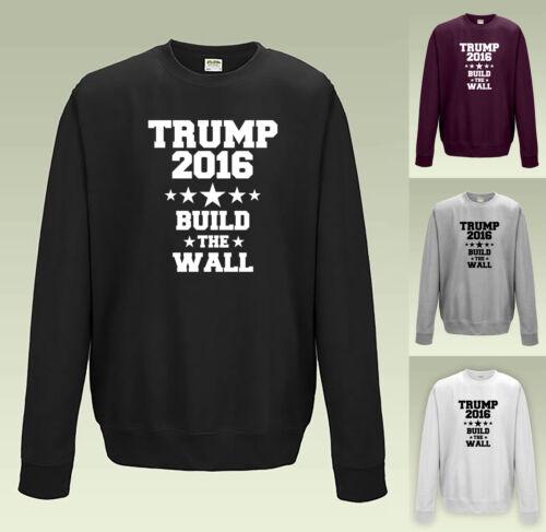 Trump costruire quel muro Felpa JH030-Maglione Jumper DONALD USA ELEZIONI 2016