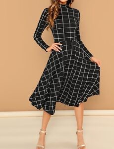 High-Neck-Long-Sleeve-Fit-and-Flare-Elegant-Plaid-Dress-Casual-Work