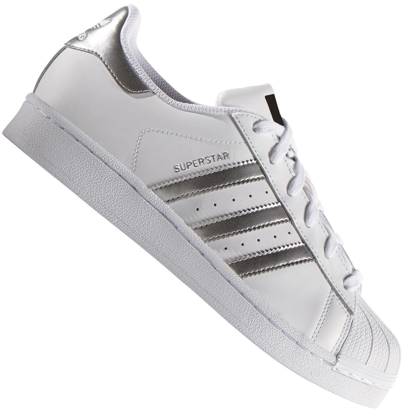 adidas Originals Superstar Weiß/Silber AQ3091 Herren-Sneaker Turnschuhe Schuhe