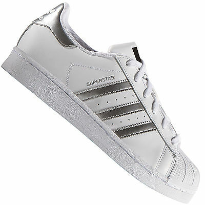 bdb6fd2b985 Adidas Superstar 2 Chaussures Baskets en Cuir Blanc Argent Homme ...