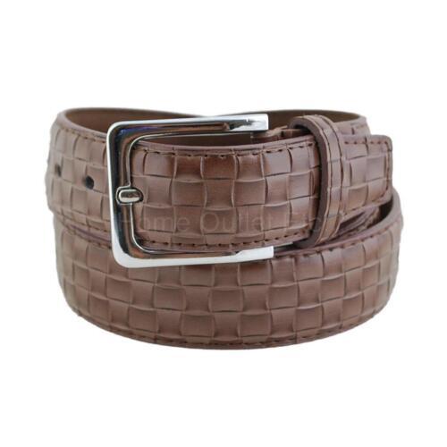 Big Strands Basket Weave Leather Dress Belt Crosshatch Embossed Textured Pattern