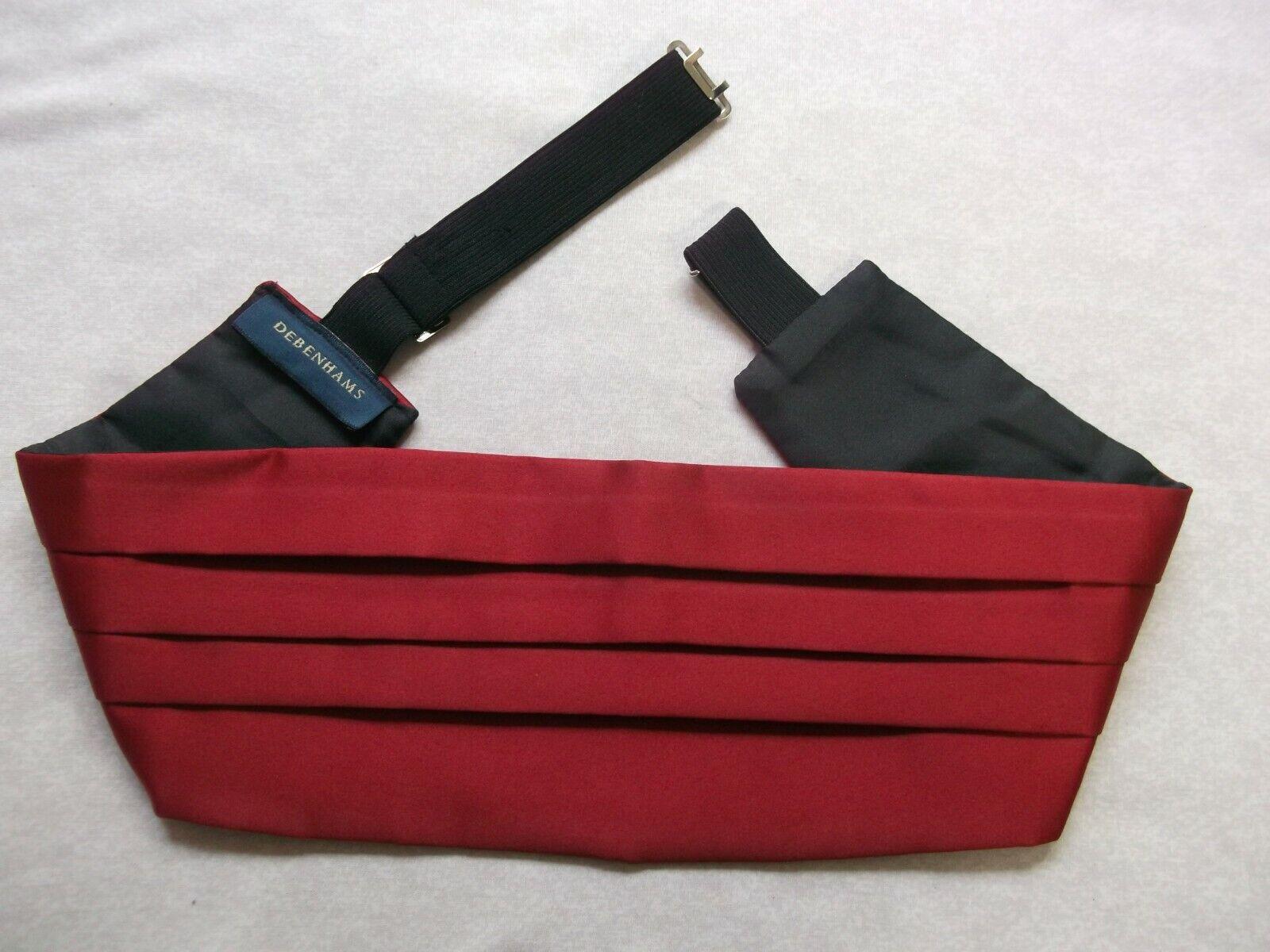 Cummerbund MENS Broad Sash Adjustable PLEATED Dark Red by Debenhams