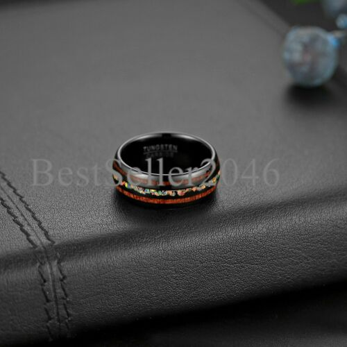 8MM Opal Tungsten Wedding Ring with Koa Wood Domed Band Comfort Fit Size 6-14