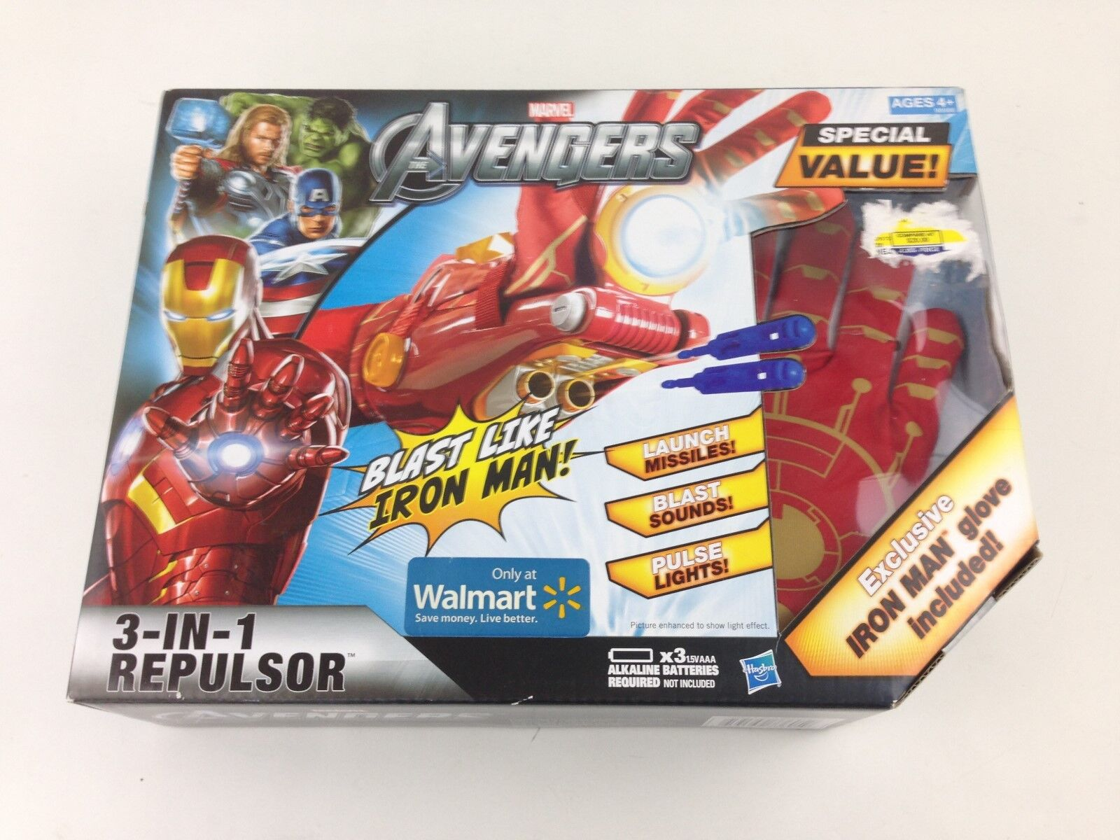 iron man 3 in 1 repulsor marvel avengers walmart exklusive handschuh hasbro 2012 nib