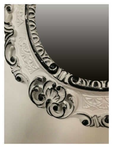 Wall Mirror Gold Black Oval 45x38 Baroque Antique Repro Vintage Retro
