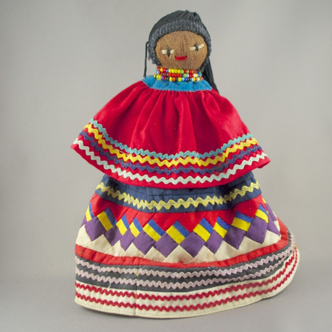 Muñeco De Indio universidad Seminole paño envuelto Palmetto Fibra cáscara hecha por universidad Seminole tribu –23