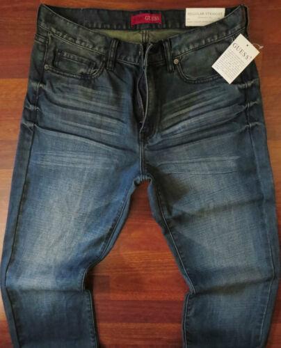 Guess Straight Leg Jeans Men/'s Size 38 X 34 Classic Distressed Medium Dark Wash