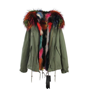 Multi-Color-Extra-LARGE-REAL-FUR-Lining-and-FUR-Hood-Coat-Jacket-Parka