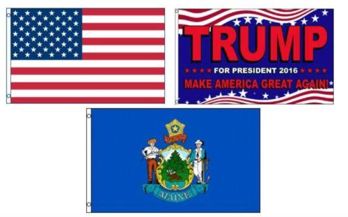 3x5 Trump 2016 /& USA American /& State of Maine Wholesale Set Flag 3/'x5/'