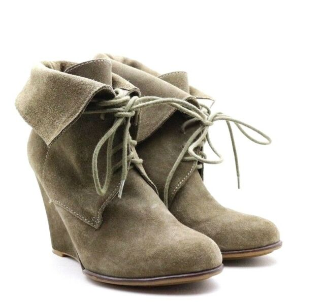 ZARA Basic Tan Beige Suede Leather Boots Lace Up Platform Wedge Ankle Booties 39