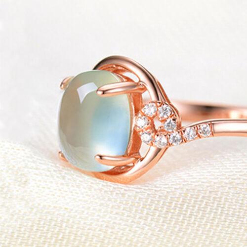 Femmes Bijoux Plaqué Or Rose Chic Rose Pierre verte anneau avec Bright Crystal