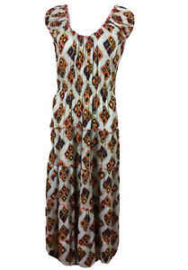 Naudic-Size-M-Peasant-Maxi-Dress-Tiered-Flared-Skirt-in-Orange-White-Navy-Tan