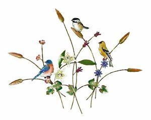 Wall Art Songbird Trio With Wildflowers Metal Wall Sculpture Bird Wall Decor Ebay