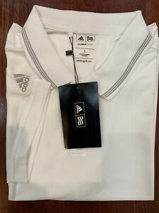 Adidas-Men-039-s-Short-Sleeves-Climalite-Golf-Polo-White-W-Gret-Sz-Large