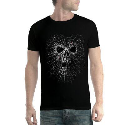 Black Widow Spider Web Skull Men T-shirt XS-5XL