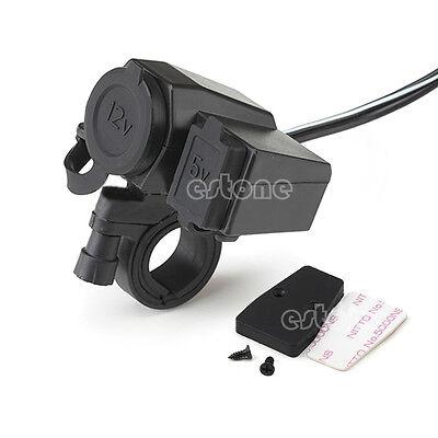 New Motorcycle Scooter 12V USB Cigarette Lighter Power Port Outlet Socket