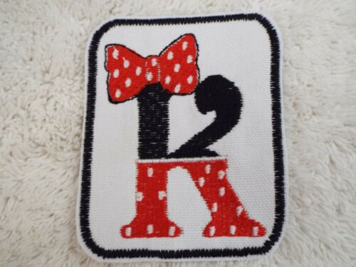 """Minnie Mouse Polka Dot MONOGRAM LETTER 3-3//4/"""" Embroidery Iron-on Patch E14"""