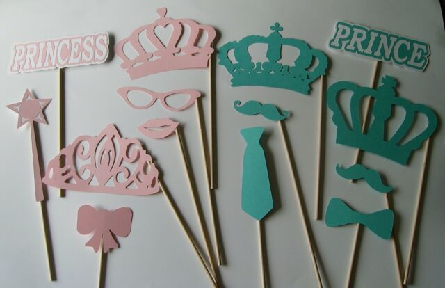 Hand Crafted Gender Reveal Photo Props / Crowns / Prince and Princess  (2132D)