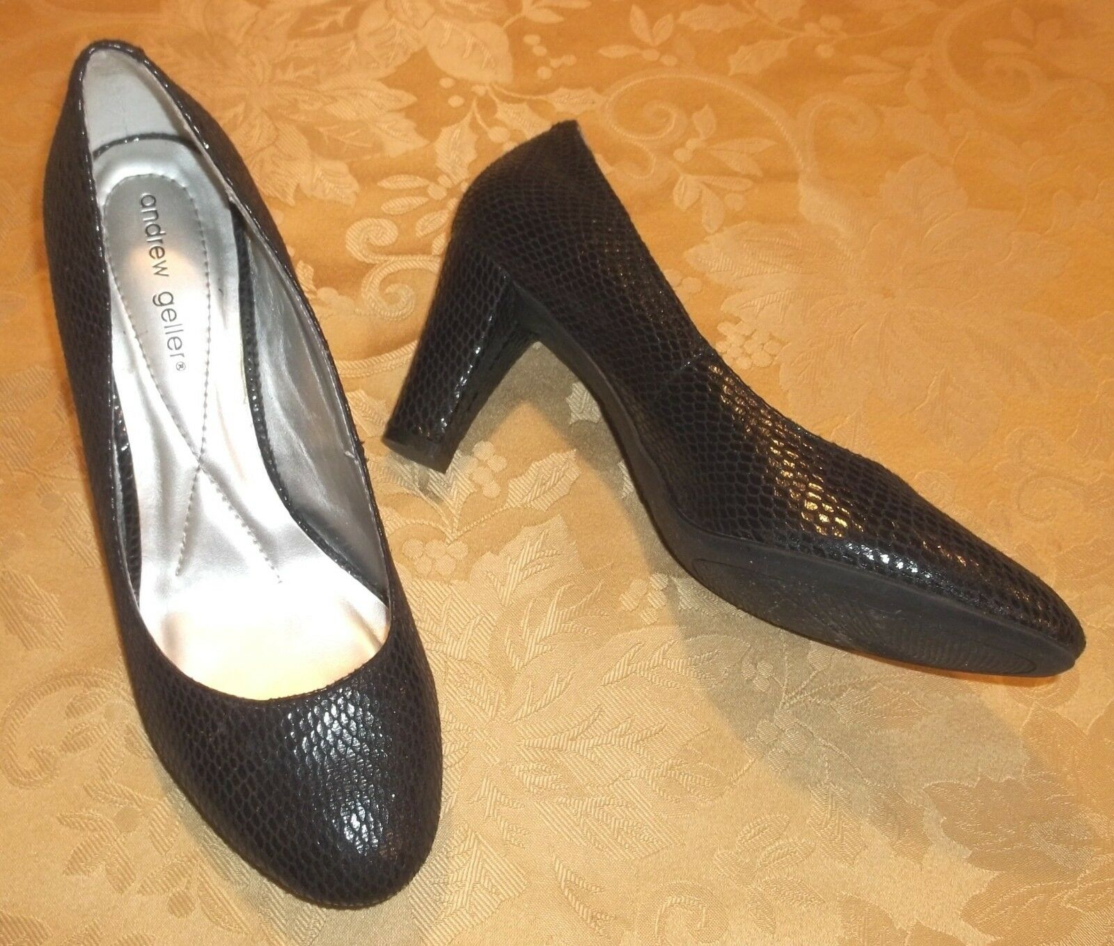 Womens ANDREW Leather GELLER~BLACK DRESS PUMPS~size 9 Faux Leather ANDREW DRESS HEELS Snake 9f4f6e