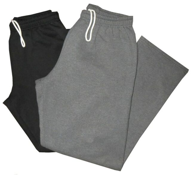 2 PREOWNED MINT DARK GRAY & BLACK GILDAN OPEN BOTTOM SWEATPANTS GYM PANTS XL