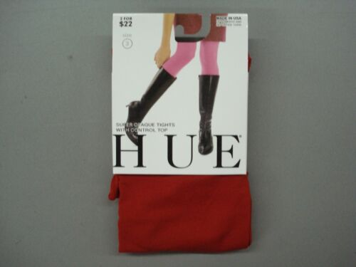 NWT Women/'s Hue Super Opaque w// Control Top Tights Size 3 Pimento #637K