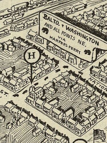 24x32 Bird/'s Eye View 1926 Winchester Virginia Vintage Style City Map
