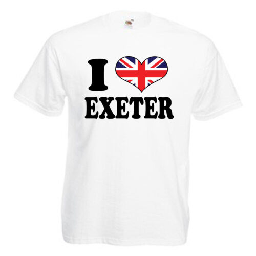 3XL I Love Heart Exeter Adults Mens T Shirt 12 Colours Size S