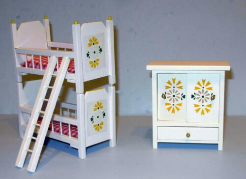 CHILDRENS 2 PC BEDROOM BUNK BEDS  DOLLHOUSE FURNITURE MINIATURES