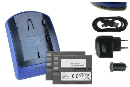 USB Cargador EN-EL3e para Nikon D80 2x Baterìas D300 D90 D700 D200 D300S