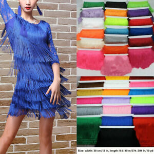 10Yard-Long-Tassel-Fringe-Trim-30cm-12-039-039-Fringing-Drop-Latin-Costume-Dress
