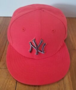 ef0713e77 Details about Fitted New Era Hat New York Yankees Red Black Logo Baseball  Cap 7 1/8