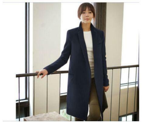 breasted Slank Lang Kvinder Collar Cashmere Trench Double Business Coat Jacket AxfRgtn