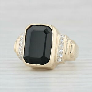 Onyx-amp-Diamond-Ring-14k-Yellow-Gold-Size-5-55-75-Cocktail-Black-Chalcedony