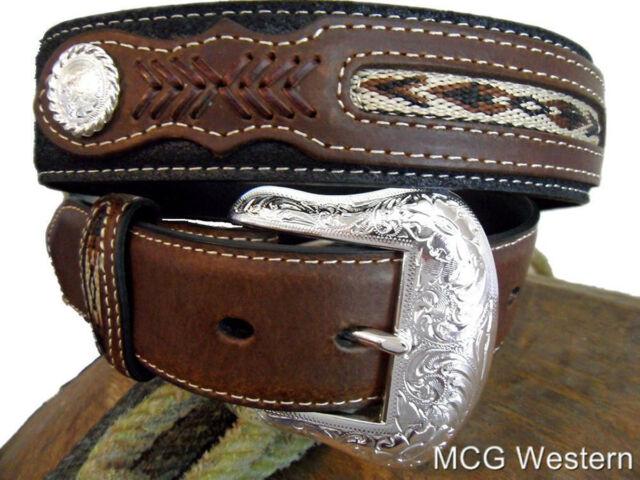 Mens Top Hand Brown Lace Overlay Nocona Belt Co