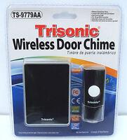 Wireless Door Bell Chime Ringer Battery Powered & Led Flashing Light Black