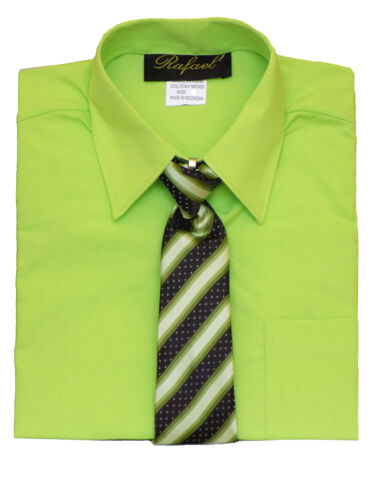 BOYS RECITAL SUMMER SHORT SLEEVE DRESS SHIRT WITH TIE SIZE:4 to14