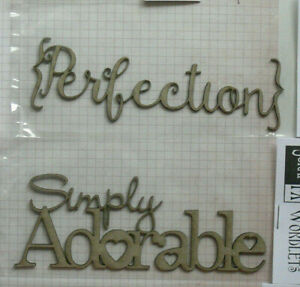 CHIPBOARD-Die-Cut-PERFECTION-amp-SIMPLY-ADORABLE-Choice-2-Word-Pack-Scrap-FX-W1