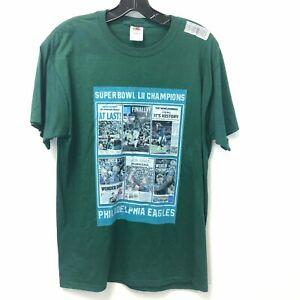 Fruit-of-the-Loom-Men-039-s-Medium-Green-Philadelphia-Eagles-Superbowl-T-Shirt