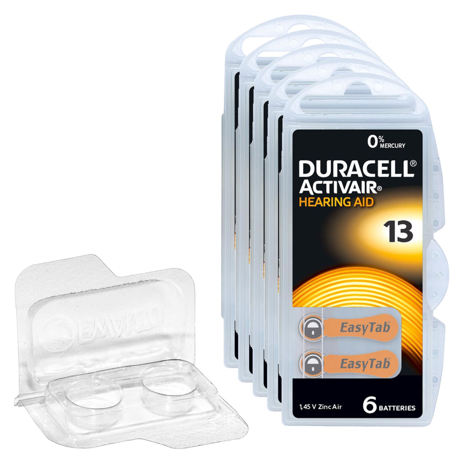 30 Duracell Activair Hearing Aid Batteries PR48 Orange 13 + Box for 2 cells