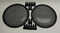 2 - 8 Inch Subwoofer Speaker Covers Steel Waffle Mesh Grills W/ Clamps Usa Made