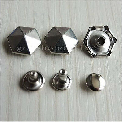 "50 100 300 PCS Hexagon Rapid Rivets Stud For Handbag bag clothes Shoes 1/2"" 13mm"
