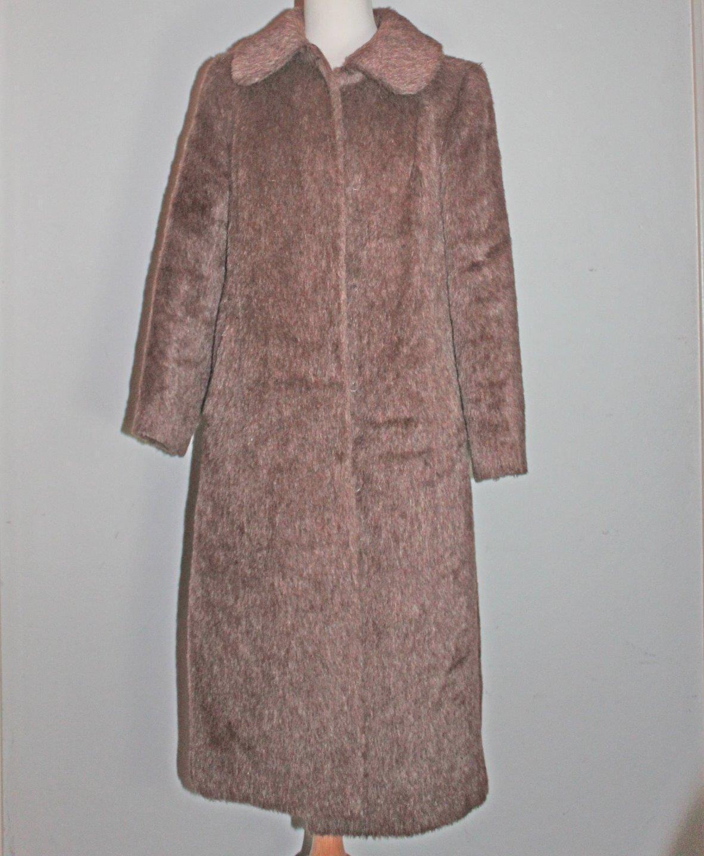 Full Length Alpaca Luxus LLama Fur Coat Sz 36 Sm Pastel Brown W Germany