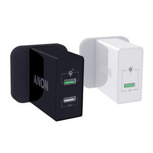 Genuine ANON Secteur Rapide Chargeur Plug USB UK pour SAMSUNG A8S A6S A9 A7 NOTE 9 J6+
