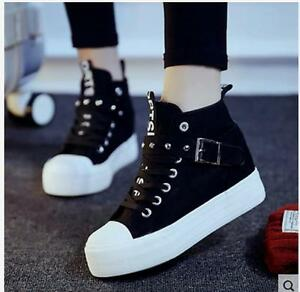 072cadc75b4f Fashion Korean Women s High Top Lace-up Heels Casual Canvas Sneakers ...