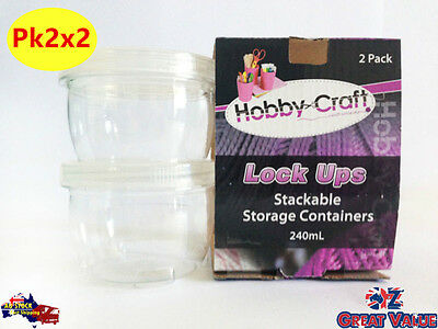 4pcs Craft Stackable Storage Containers   240ml   Clear Plastic