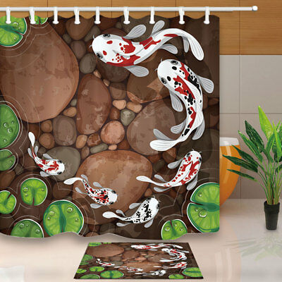 Japanese koi and waves Shower Curtain Bathroom Decor Fabric /& 12hooks 71*71inch