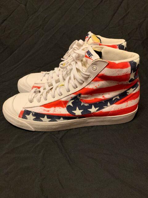 brand new 91a1f 3ed63 Nike Blazer Mid 77 America USA Flag High Top Shoes Sz 13 White Red 537327  109