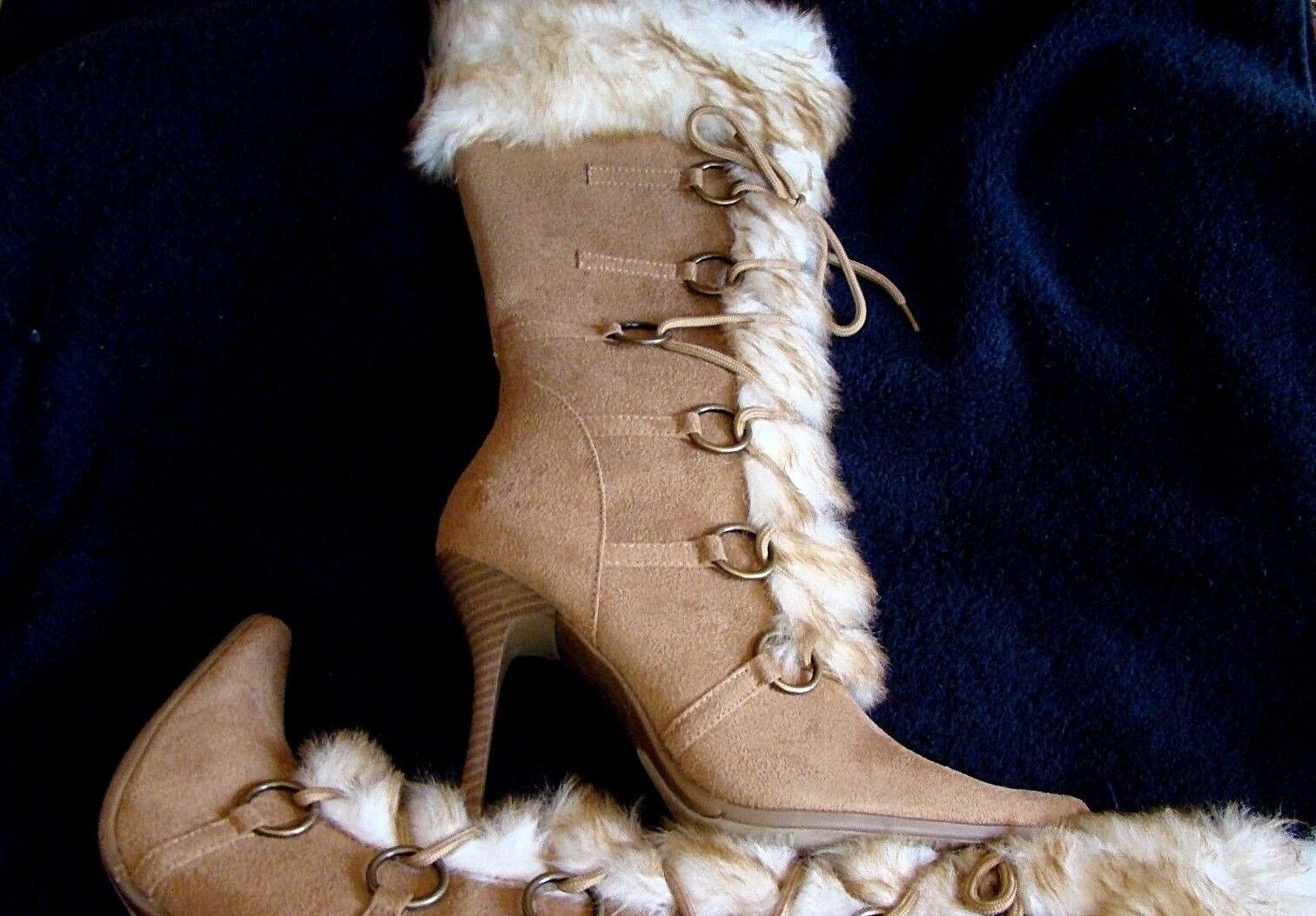 DELICIOUS CAMEL FAUX SUEDE FUR TRIM BOOT 4