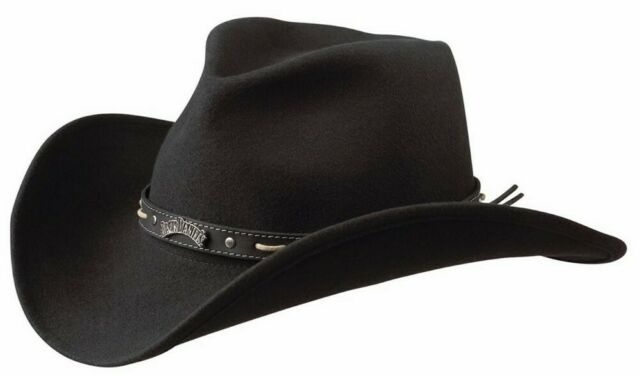 Jack Daniels Men's JD Crushable Wool Felt Western Cowboy Hat Cap Black JD03 F